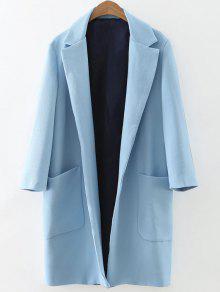 Pockets Lapel Collar Long Coat - Light Blue L