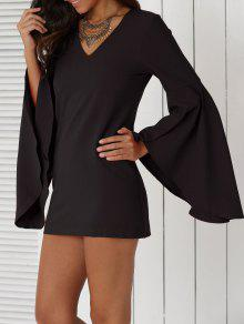 Solid Color Plunging Neck Flare Sleeve Sheath Sexy Mini Dress - Black M