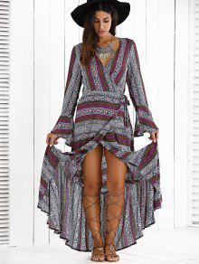 High Slit V Neck Bohemian Maxi Dress PURPLE: Maxi Dresses L | ZAFUL