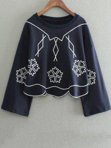 Brodé Irrégulière Hem Sweatshirt - Bleu Violet