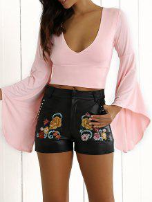Bell Sleeve Crop Top - Pink S