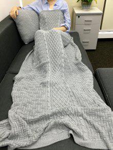 تصميم شريط مريح الحياكة بطانية مستطيلة + ساحة المخدة - رمادي