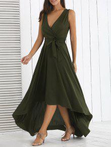فستان غير متماثل عالية الخصر ماكسي - مسود الخضراء L