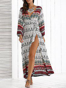الفستان الطويل المتشعب مع الكم الطويل - أبيض