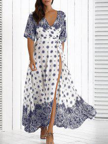 الفستان الطويل بالأساليب المخلوطة مع الرباط - أبيض