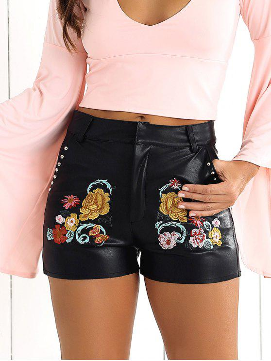 affordable Floral Embroidered PU Shorts - BLACK S