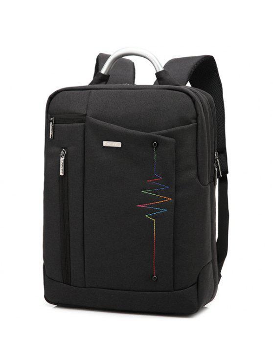 حقيبة الظهر طباعة الحرف نايلون - أسود