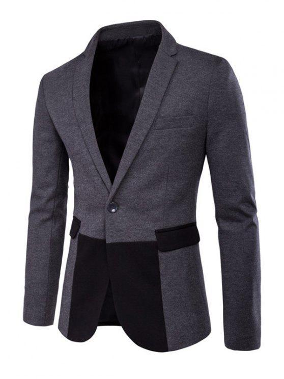 Cor emendado Flap Pockets manga comprida fenda Blazer - Cinza claro M