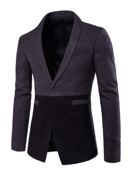 Poches passepoilées Boutons Couleur Splicing manches design Blazer - Gris XL