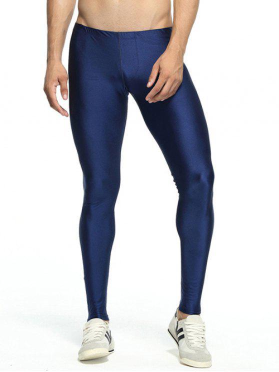 Solide dünne elastische Taillen-Gym Pants - Dunkel Blau L