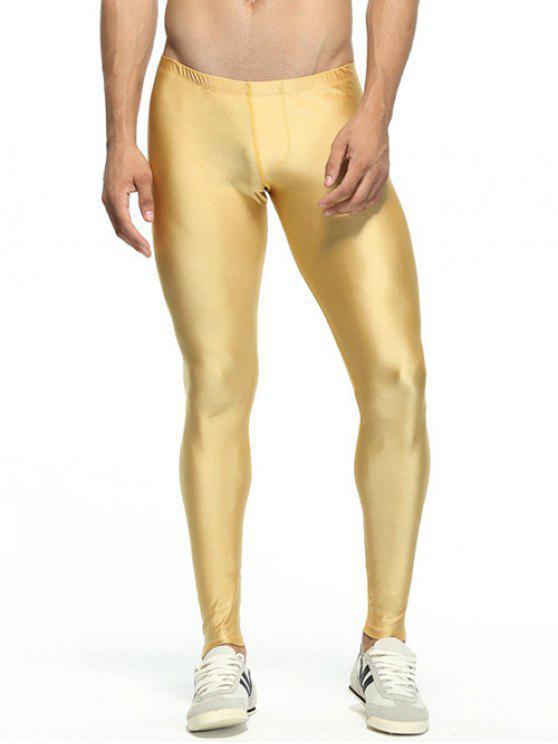 Solide dünne elastische Taillen-Gym Pants - Golden M