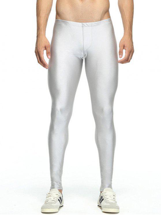 Pantaloni da Palestra Solidi Skinny Elastici in Vita - Argento M