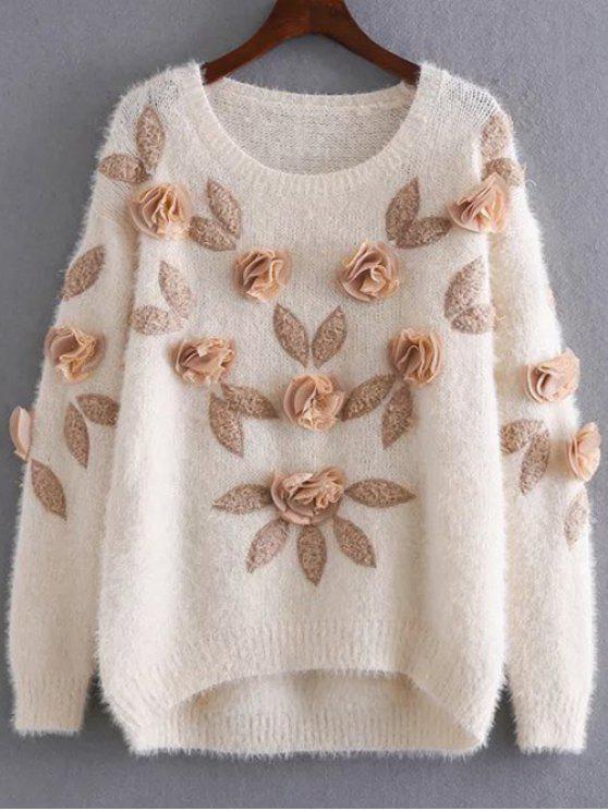 shops Applique Mohair Sweater - APRICOT ONE SIZE