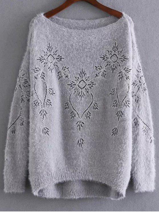 Pailletten bestickter Mohair Pullover - Grau Eine Größe