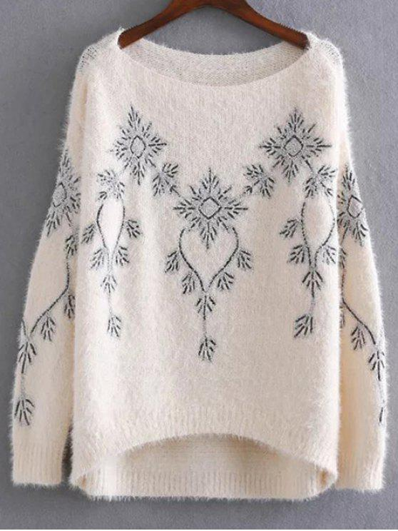 fashion Embroidered Sequins Mohair Sweater - APRICOT ONE SIZE