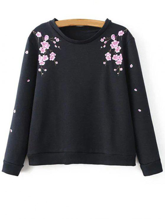 trendy Titoni Embroidered Sweatshirt - BLACK L