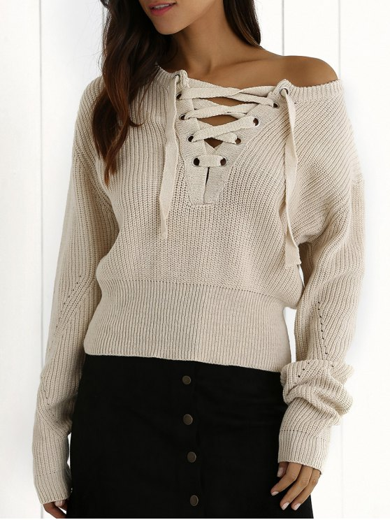 latest Ribbed Lace Up Cropped Jumper - OFF-WHITE ONE SIZE