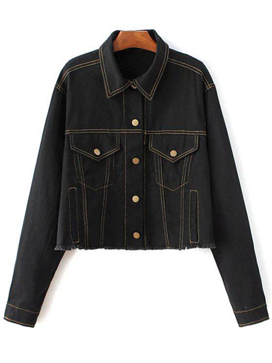 fancy Buttons Frayed Denim Jacket - BLACK L