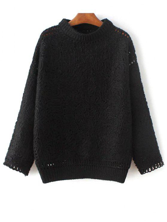 High Neck Crochet Sweater - Schwarz Eine Größe