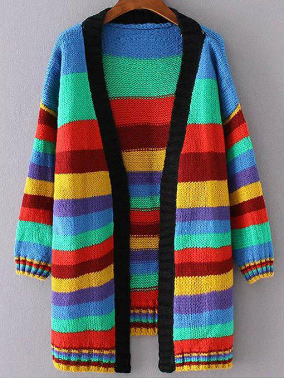 Striped long Cardigan ouvert - Multicolore S