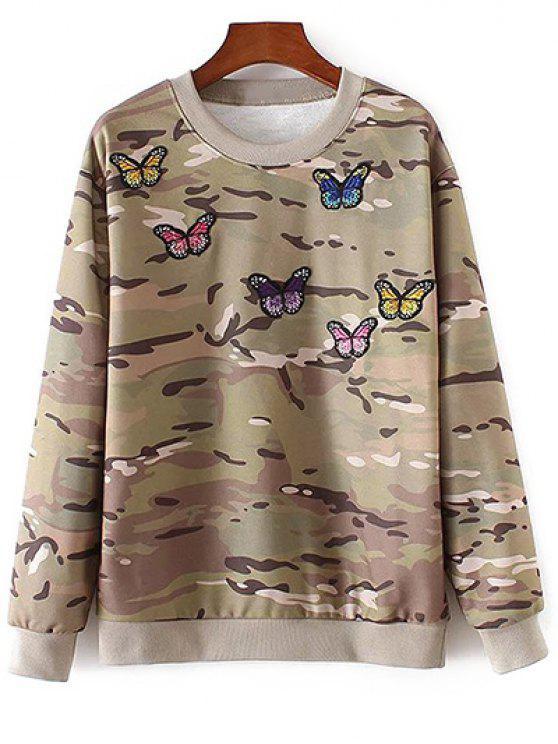 Camo camiseta bordada de la mariposa - Colormix M