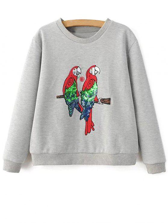 Loro camiseta bordada - Gris Claro S