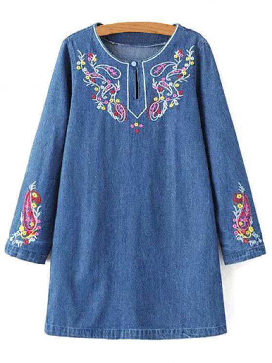 Vestir de manga larga del dril de algodón bordado - Denim Blue M