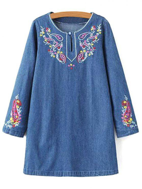 Denim robe à manches longues brodé - Denim Bleu M
