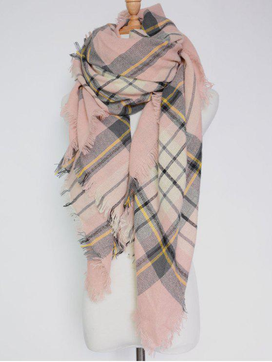 chic Plaid Pattern Fringed Square Scarf - PINK