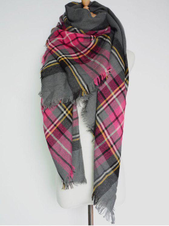 De la tela escocesa con flecos Fular - Gris Oscuro