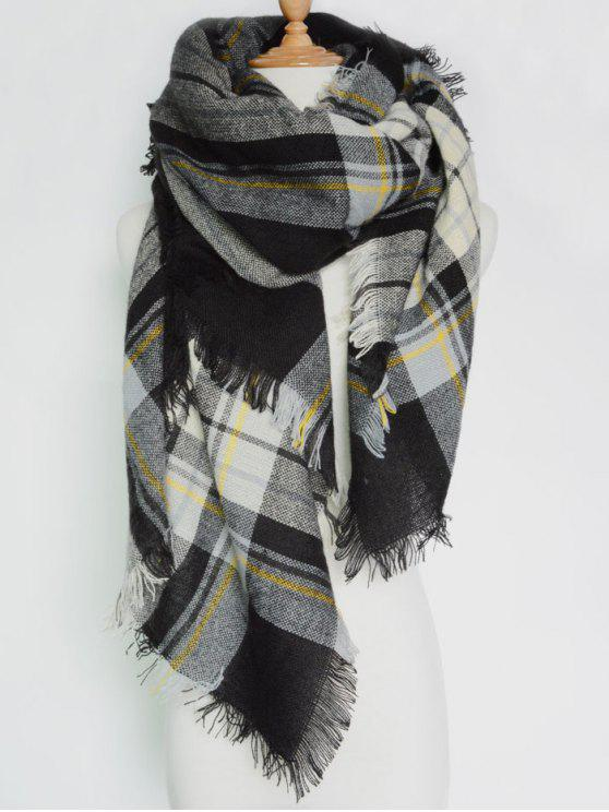 affordable Plaid Pattern Fringed Square Scarf - BLACK GREY