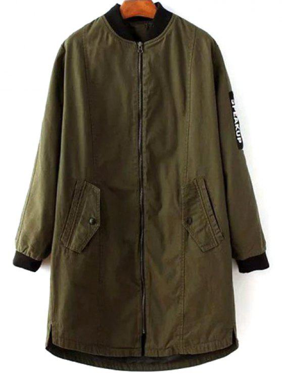 ladies Letter Pattern Stand Neck Coat - ARMY GREEN S