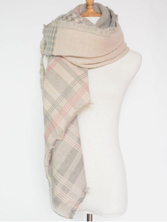 2019 motif houndstooth plaid frang e square scarf en rose p le zaful fr. Black Bedroom Furniture Sets. Home Design Ideas