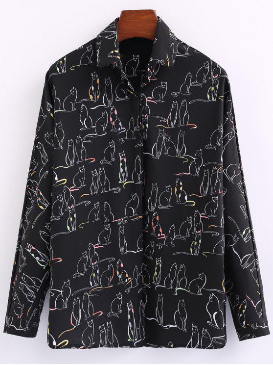 fancy Kitten Print Shirt - BLACK S