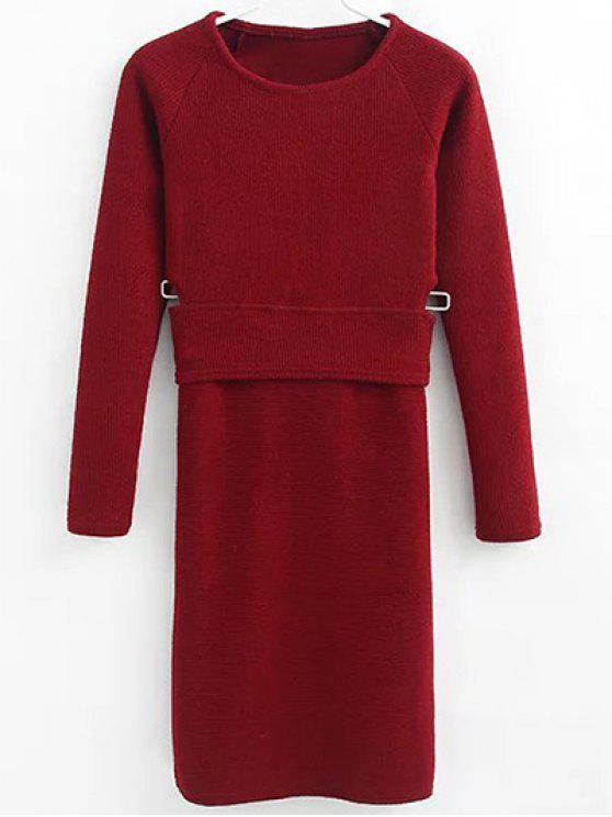 sale Pullover Sweater and Knit Skirt - WINE RED M
