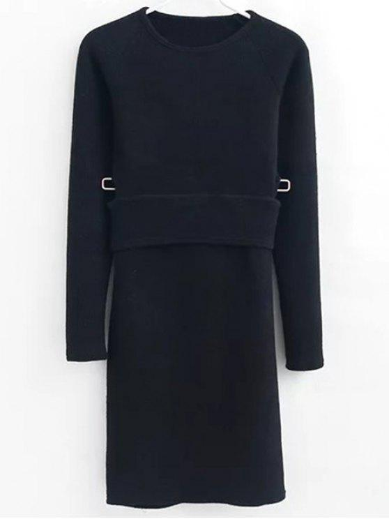 womens Pullover Sweater and Knit Skirt - BLACK S
