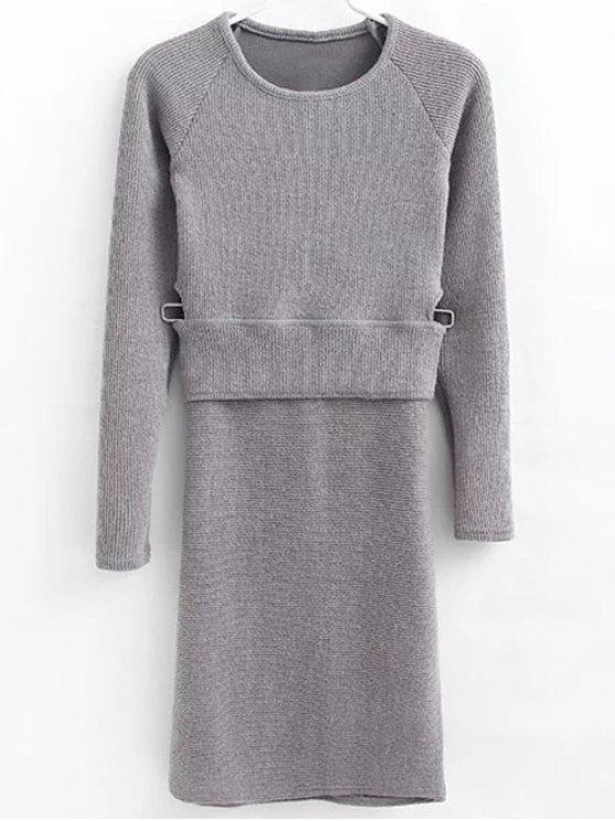 women Pullover Sweater and Knit Skirt - GRAY M