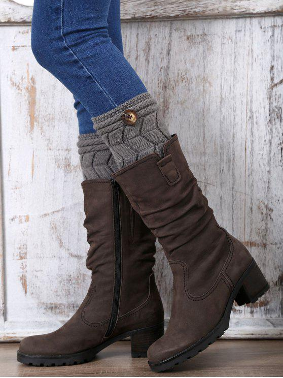 lady Button Letter W Knitted Boot Cuffs - DEEP GRAY