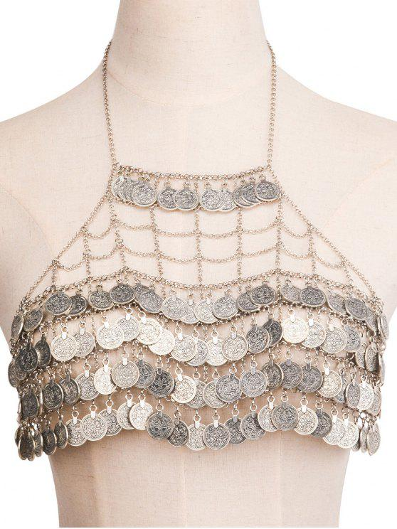 ladies Engraved Coins Alloy Geometric Body Chain - SILVER