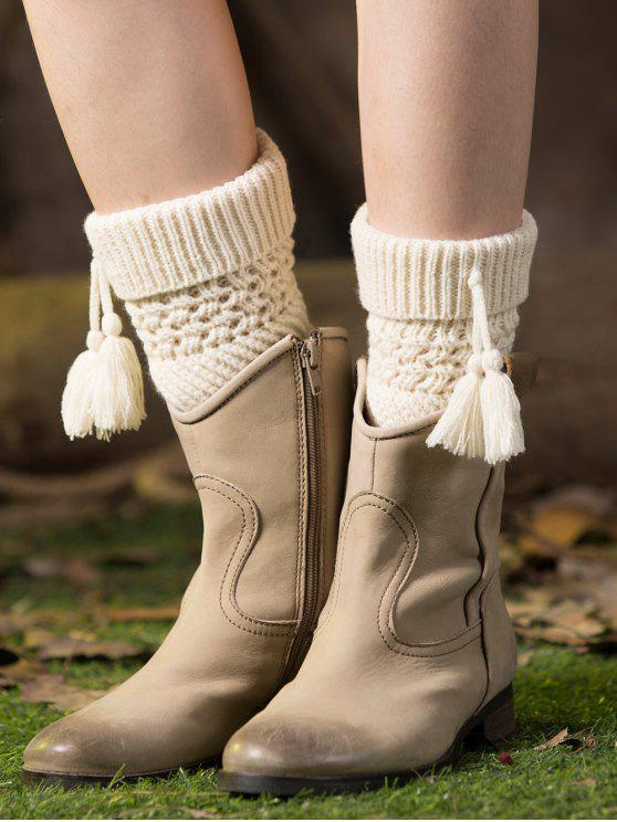 shops Tassel Flanging Knitted Boot Cuffs - WHITE