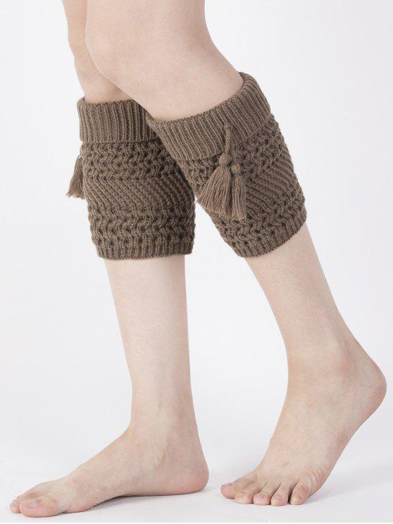 fashion Tassel Flanging Knitted Boot Cuffs - COFFEE