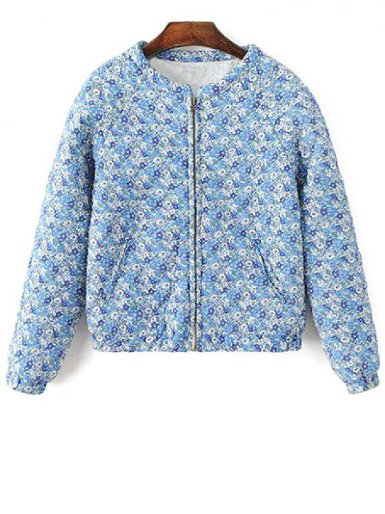 trendy Small Floral Quilted Jacket - BLUE M