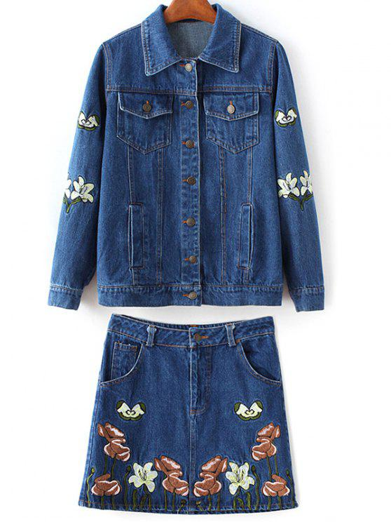 embroidered denim jacket and skirt denim blue two