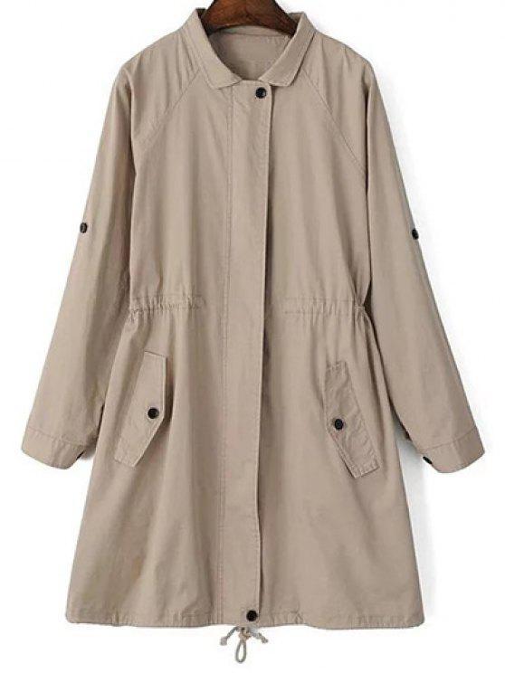 trendy Khaki Trench Coat - KHAKI M