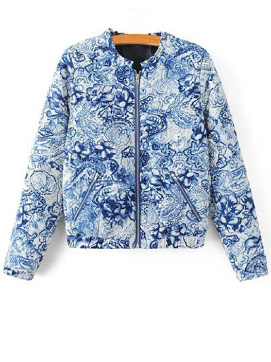 unique Porcelain Quilted Jacket - BLUE AND WHITE S