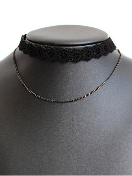 Collar Gargantilla flor ahuecado - Negro