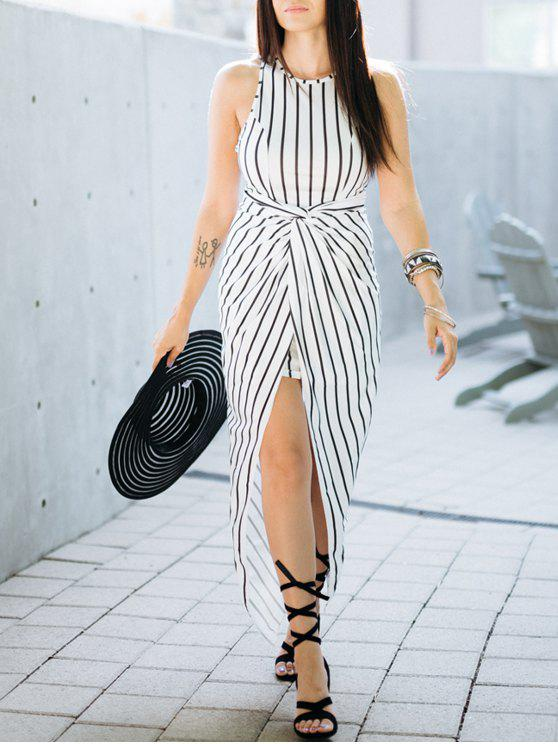 shops Draped Stripe High Low Maxi Dress - WHITE AND BLACK M