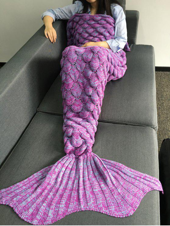 online Fish Scales Design Mermaid Blanket - LIGHT PURPLE M