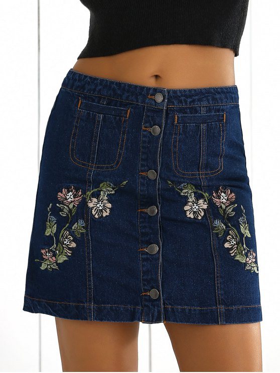 0530c24c9e 27% OFF] 2019 Floral Embroidered Denim Skirt In BLUE | ZAFUL