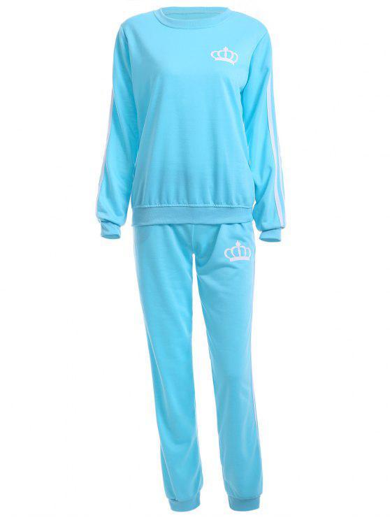 shop Crown Print Sweatshirt and Sweatpants - AZURE XL
